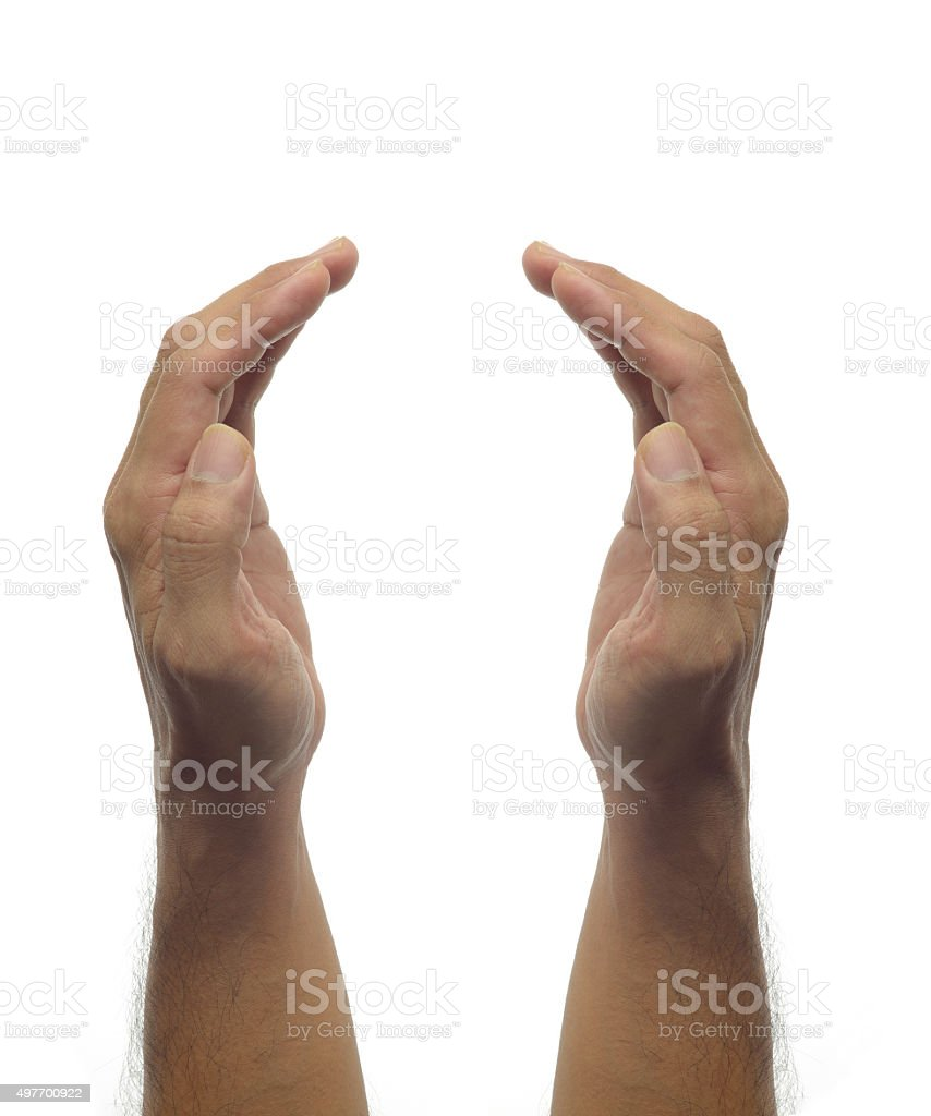 Human hands -protecting gesture on white background stock photo