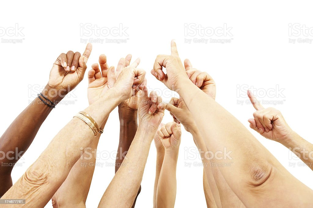 Human hands raised together over white royalty-free stock photo