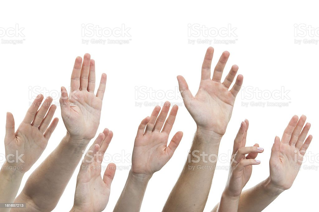 human hands raised up royalty-free stock photo