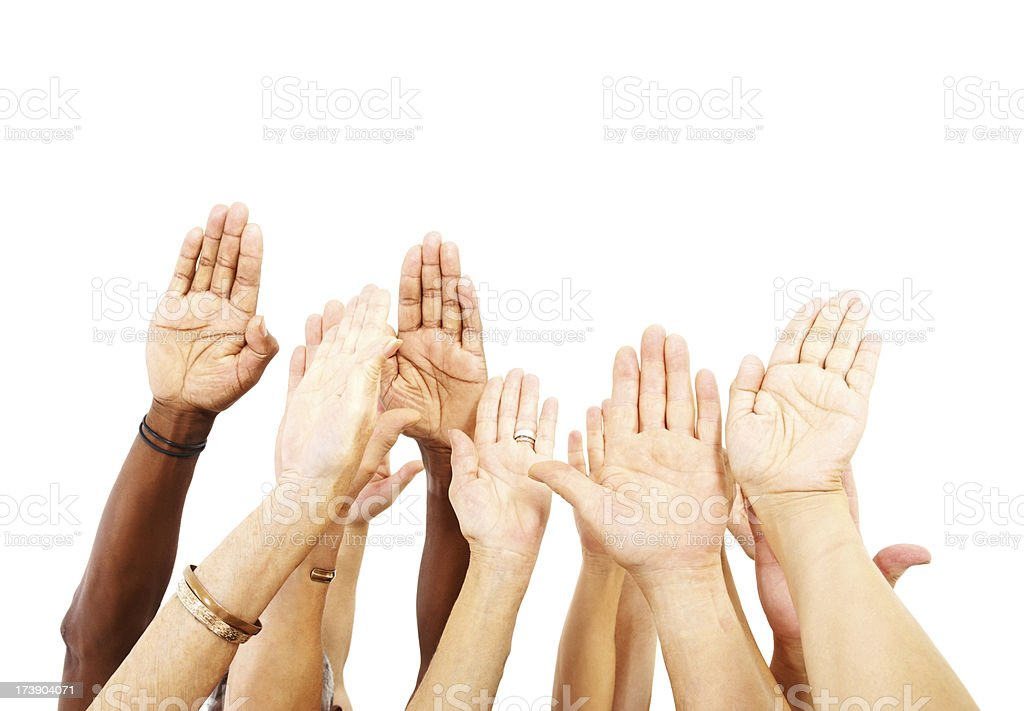Human hands reaching up on white royalty-free stock photo