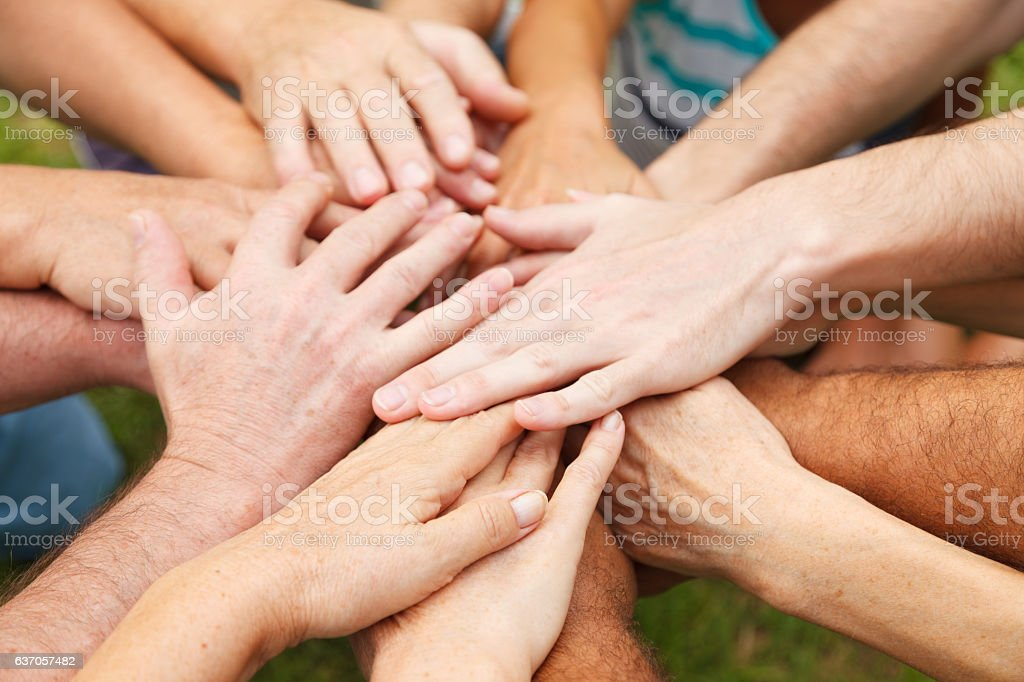 Human hands showing unity stock photo
