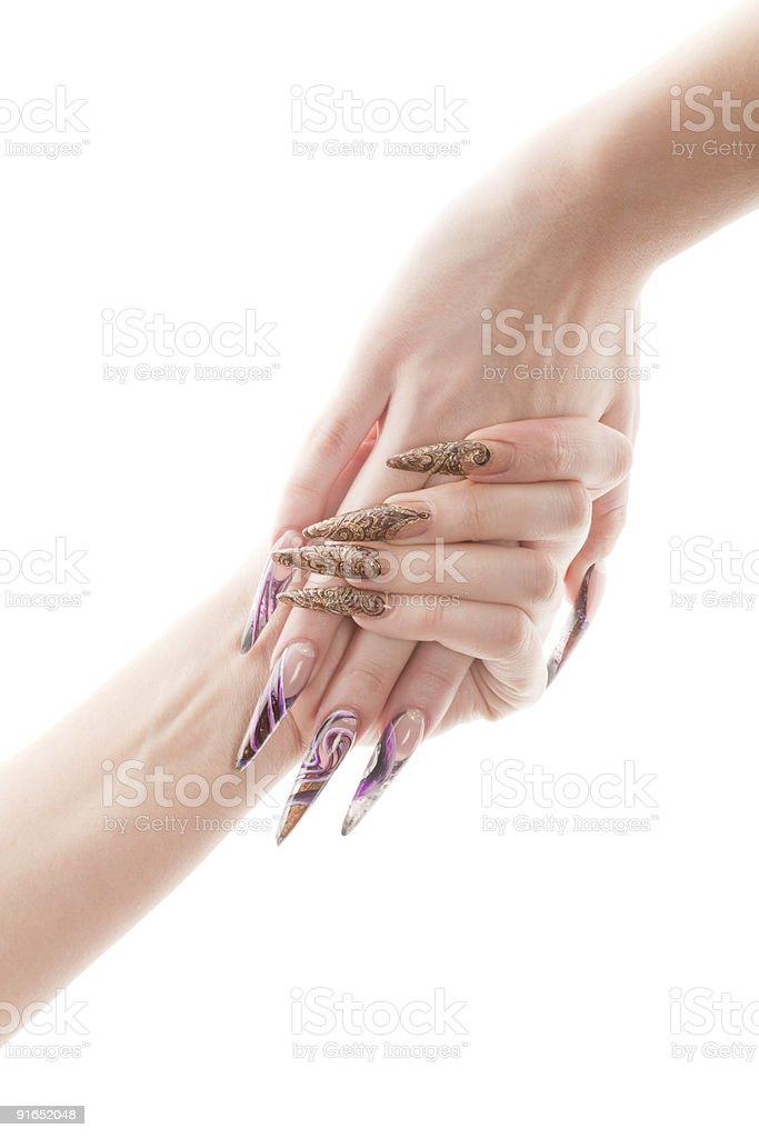 Human hands with beautiful fingernail stock photo