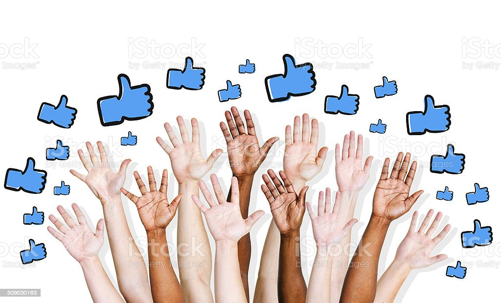 Human Hands with Thumbs Up stock photo