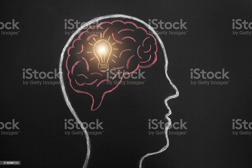 Human head draw in lightbulb - idea concept. stock photo