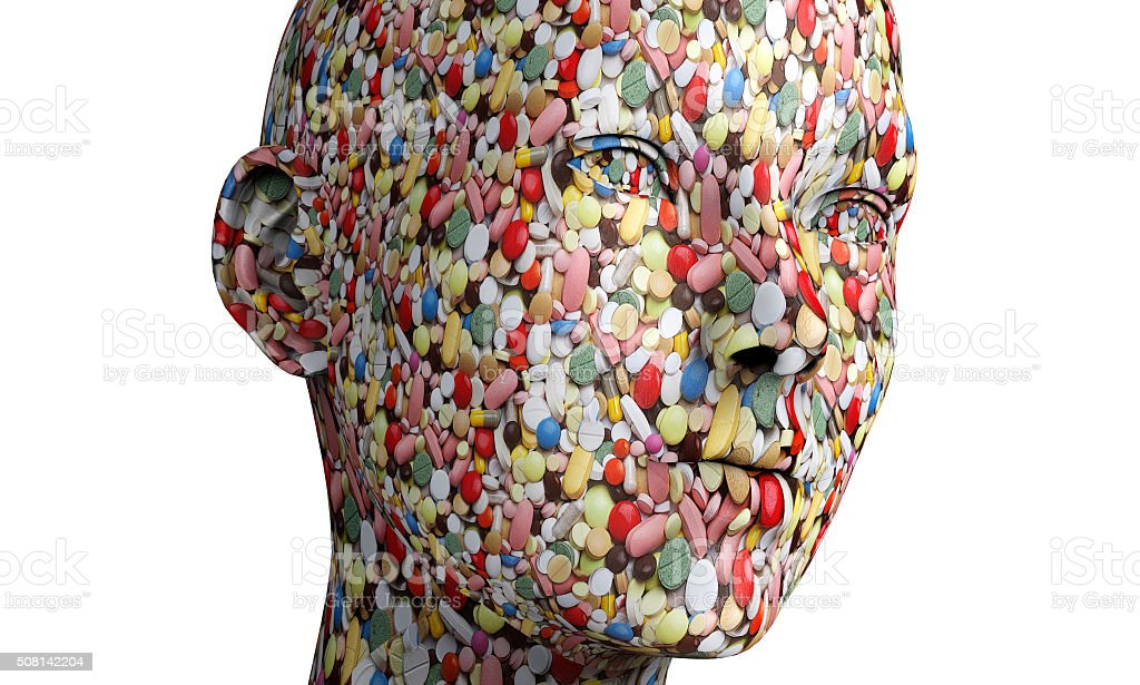 human head made out of pills stock photo