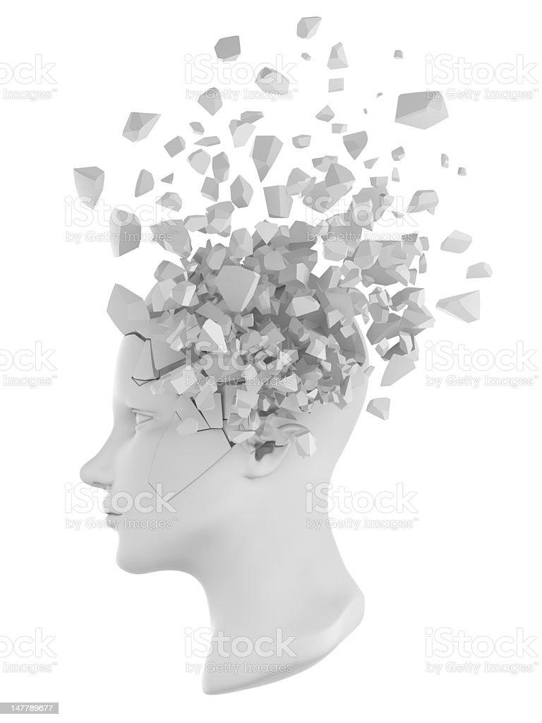human head shatter white stock photo