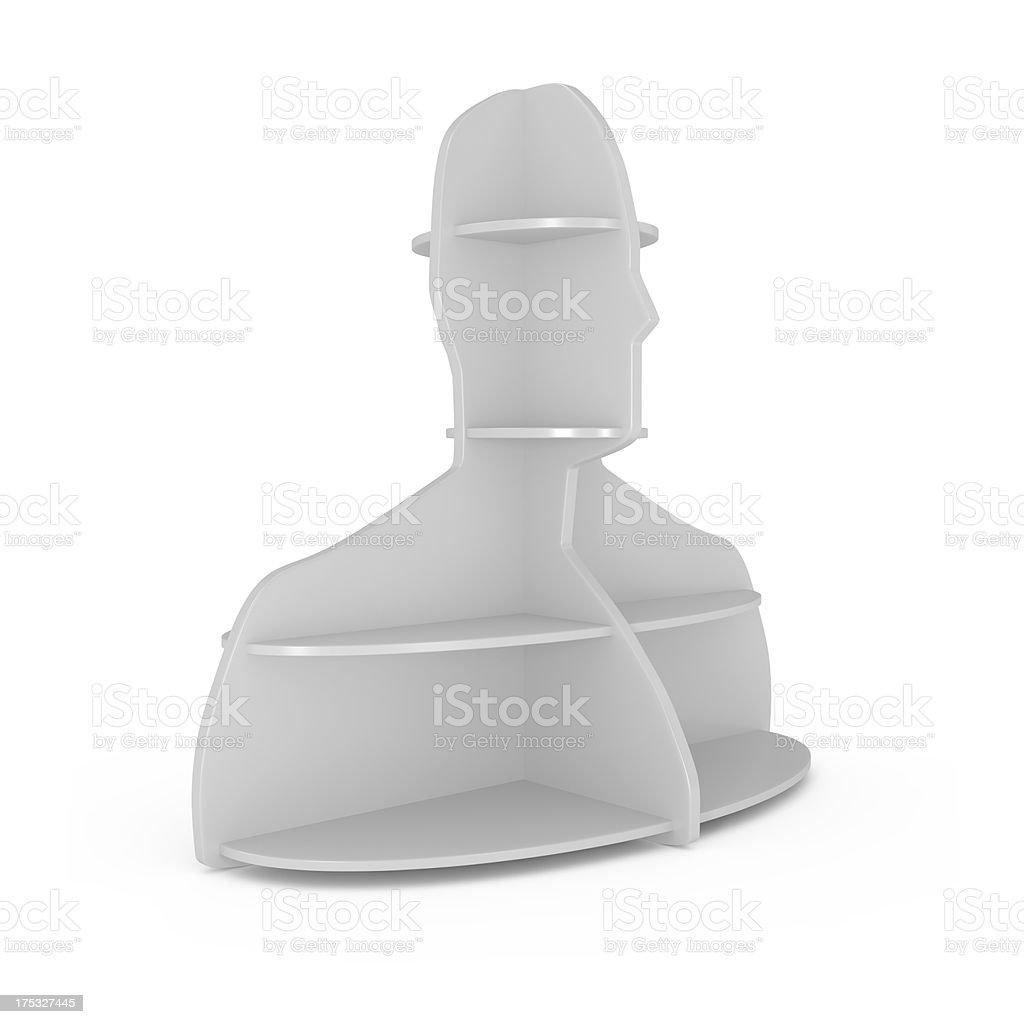 Human Head Style Shelf isolated on white royalty-free stock photo