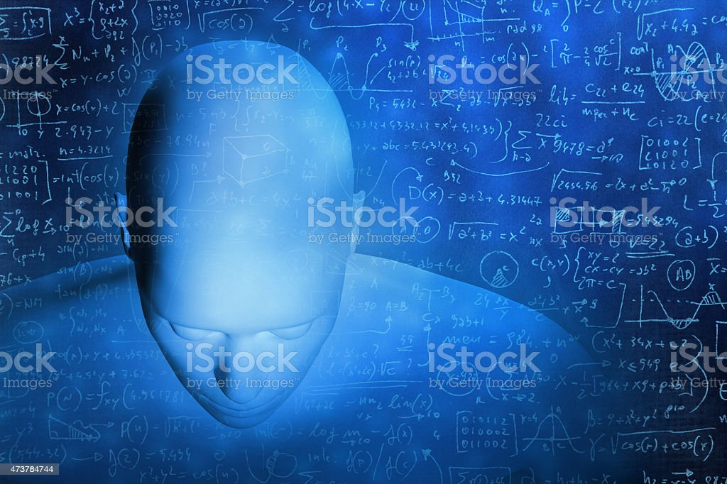 Human head top view surrounded by complicated math formula stock photo