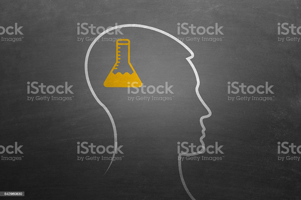 Human head with conical flask stock photo