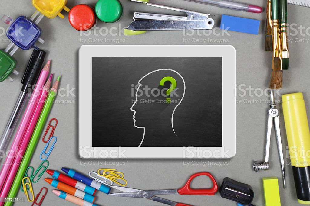 Human head with question mark sign stock photo