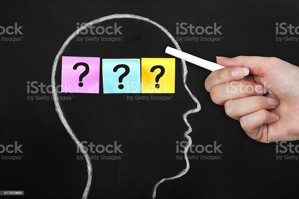 Human head with question marks stock photo