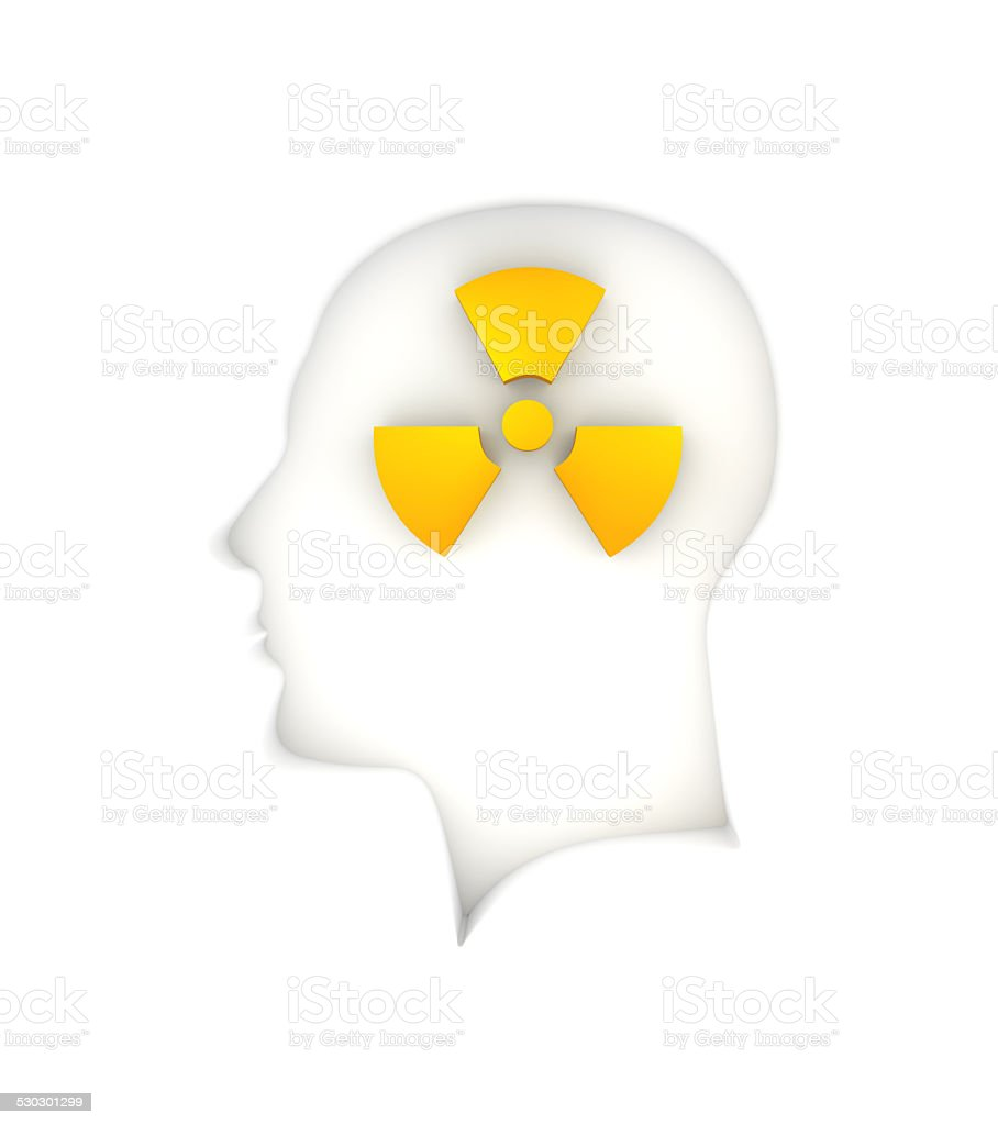 Human Head with Radioactive Symbol stock photo