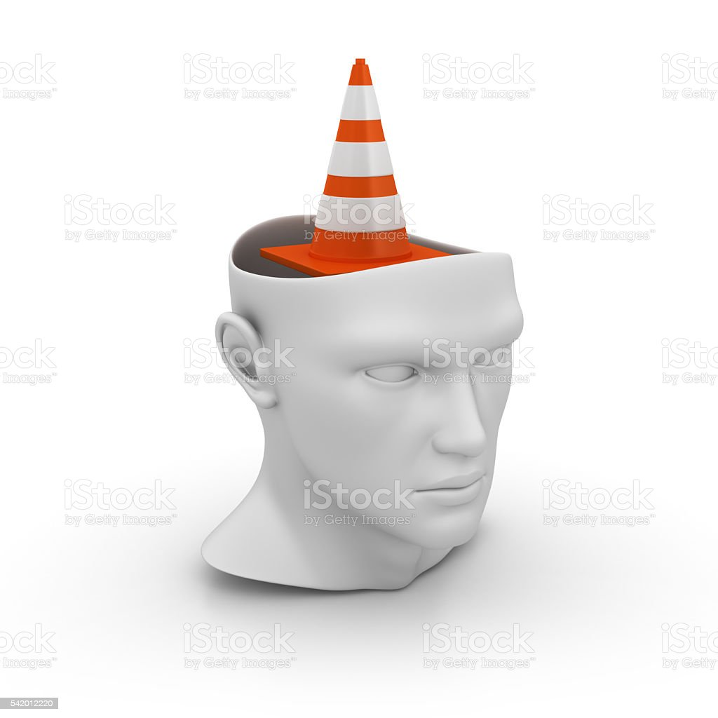 Human Head with Traffic Cone stock photo