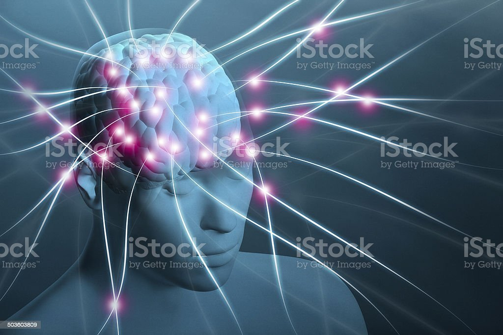 Human head with visible brain and neural nerve connections stock photo
