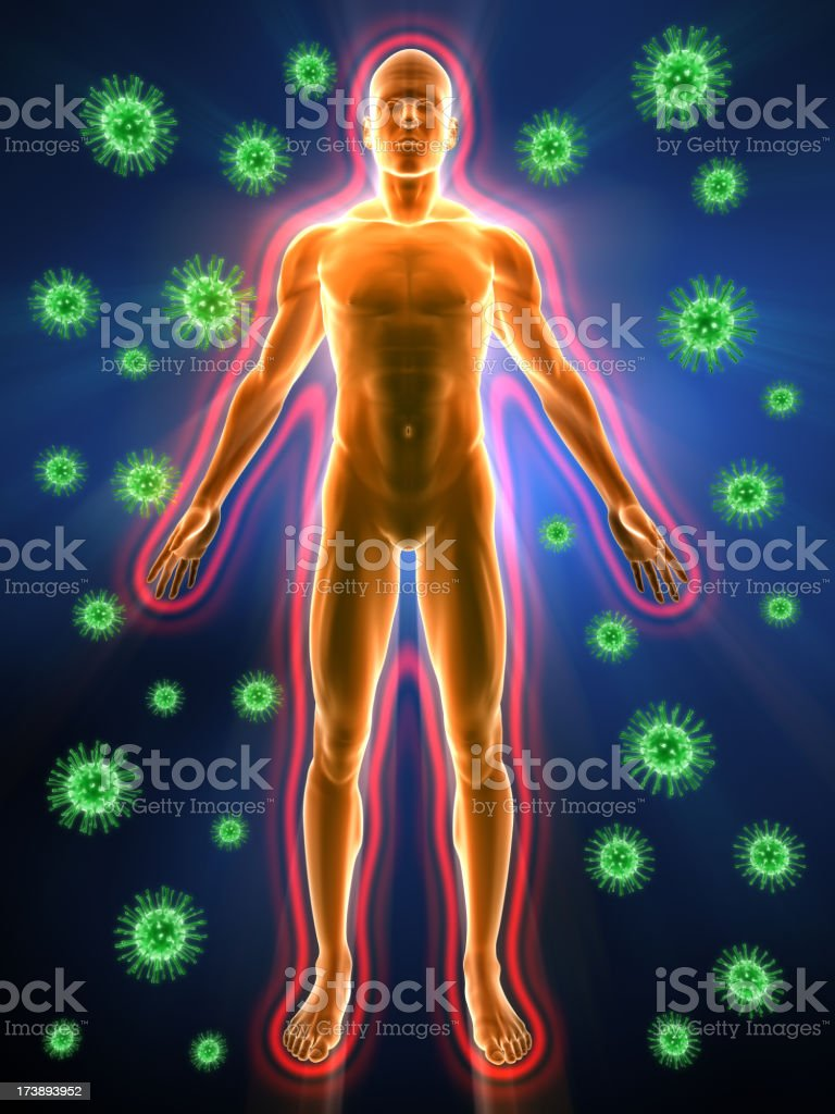 Human immune system and bacteria stock photo