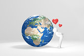 3D human kisses Earth - Europe, Africa, Middle East