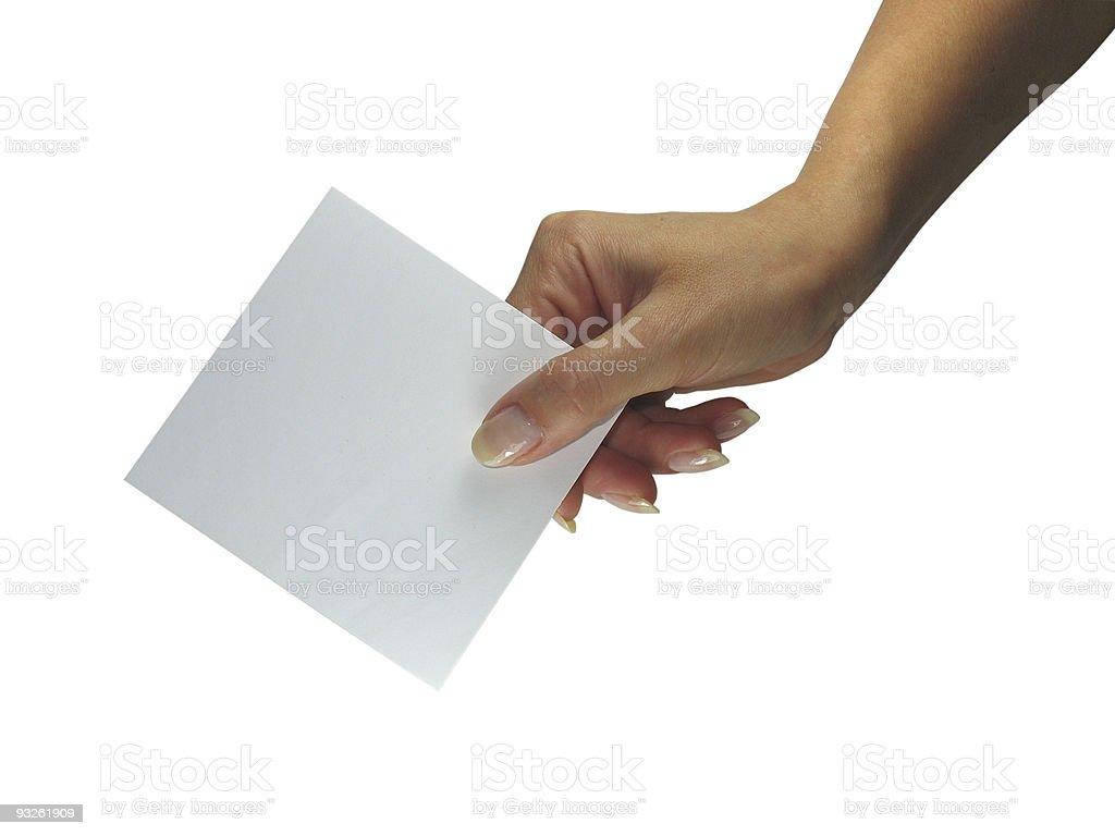 Senhora humana mãos mostrando cartão de papel isolado vazio foto de stock royalty-free