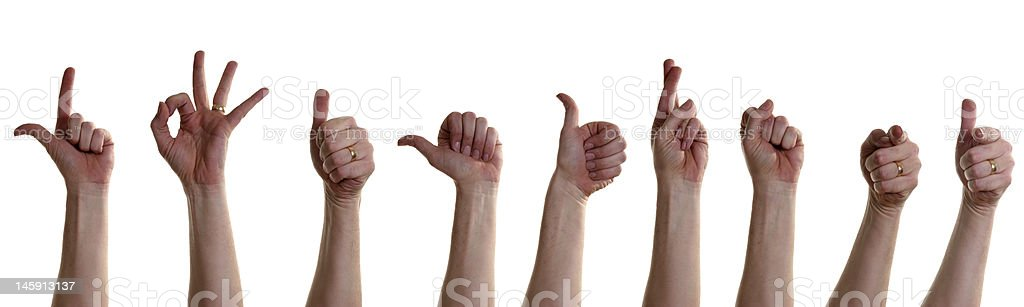 Human Left Hand Making Several Gestures royalty-free stock photo
