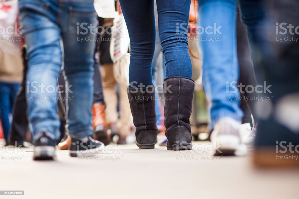 Human legs on the streets of London stock photo