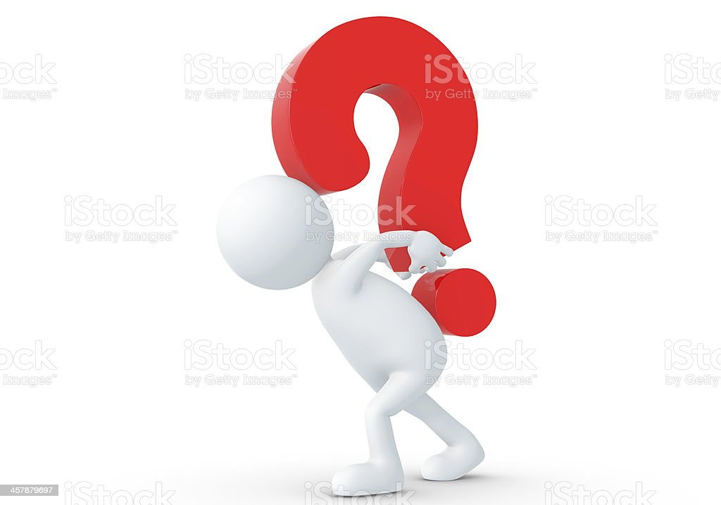 3D human Lifting red question stock photo