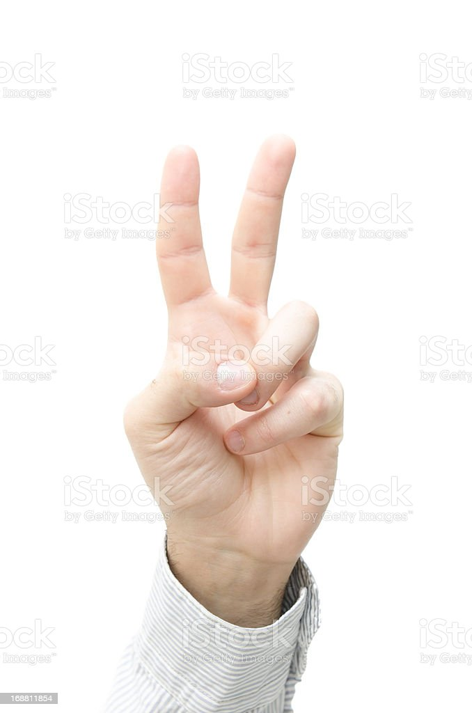 Human Man hand peace sign Thumb Up royalty-free stock photo