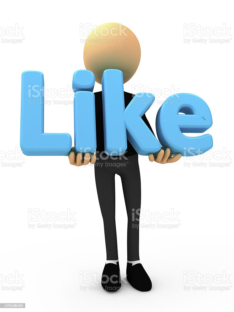 Human man with like button blue social stock photo