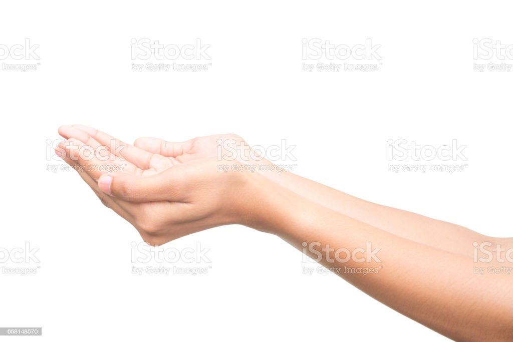 Human open empty hands on white background. stock photo