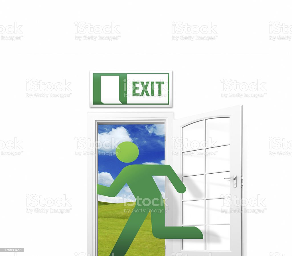 Human opening the exit door royalty-free stock photo