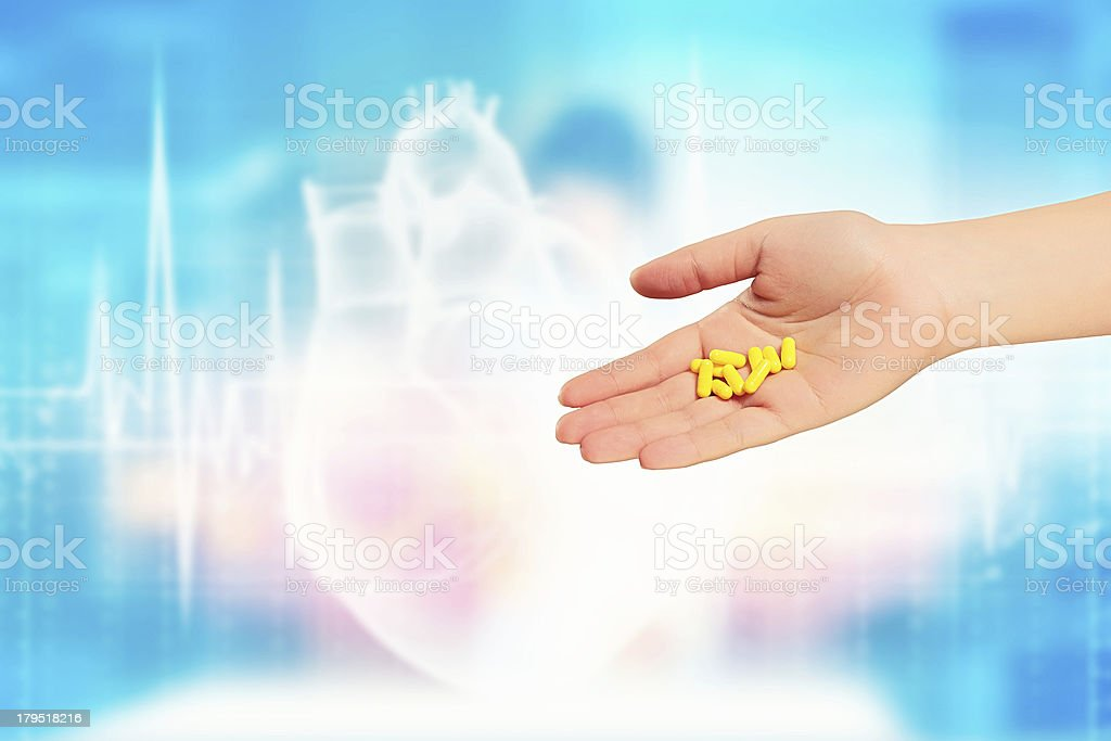 Human palm with pills royalty-free stock photo