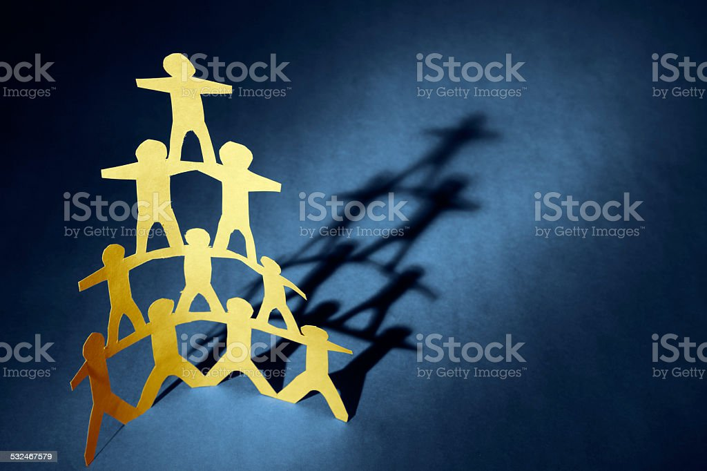 Human pyramid stock photo
