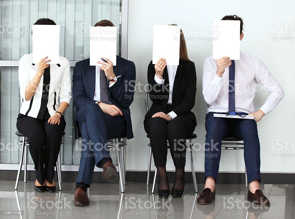Human resource concept, Young businessman holding white billboar stock photo