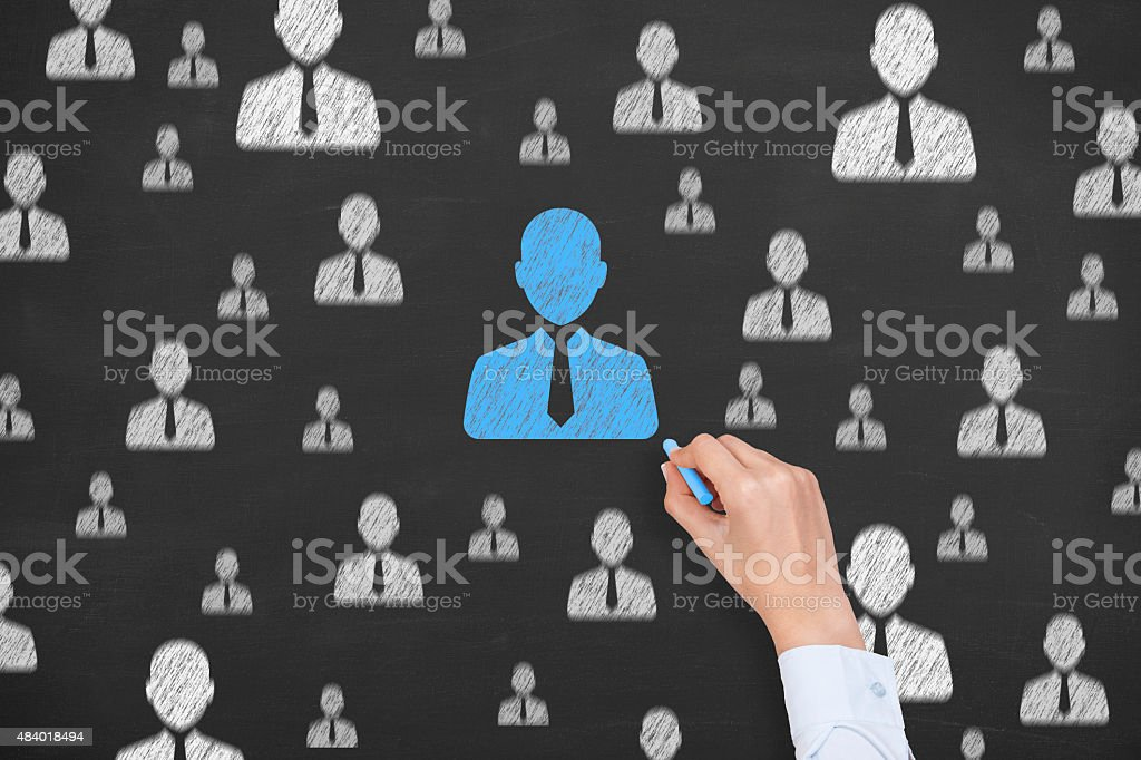 Human Resource Conceptual Drawing on Blackboard Texture stock photo