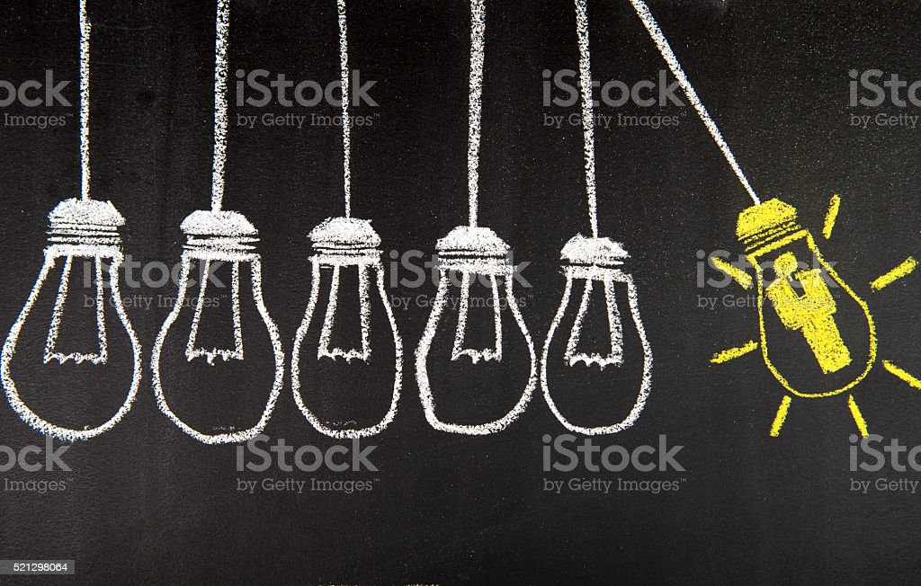 Human Resource Idea Bulb Concepts Drawing stock photo