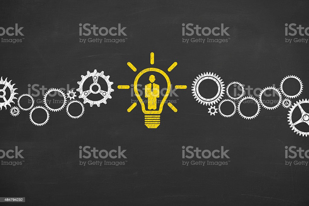 Human Resource Idea Conceptual Drawing on Blackboard Texture vector art illustration