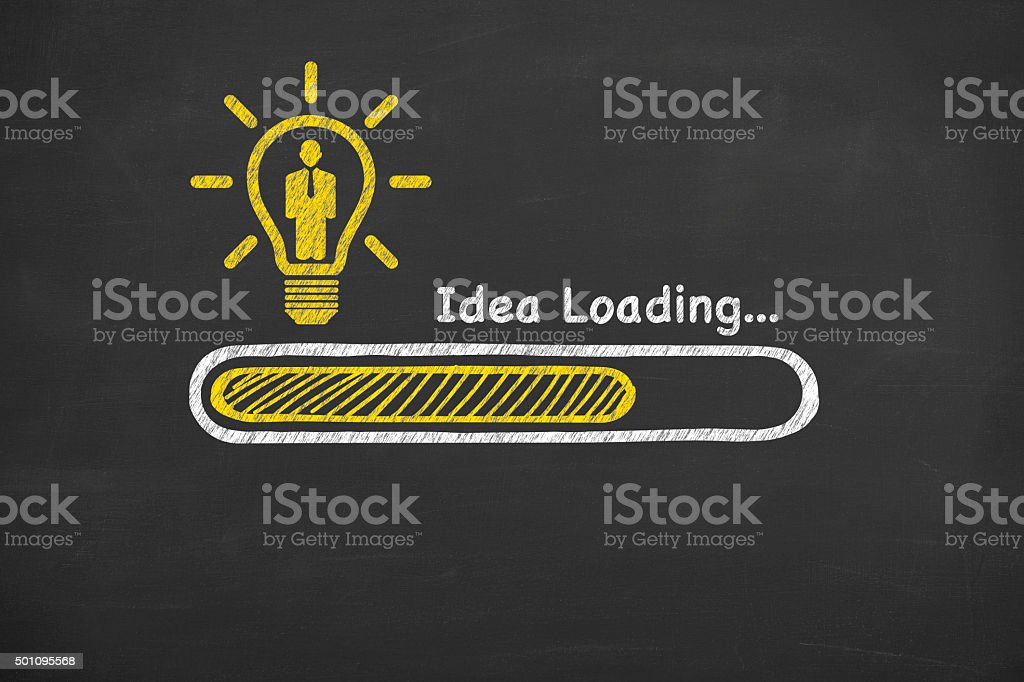 Human Resource Idea Loading on Blackboard stock photo