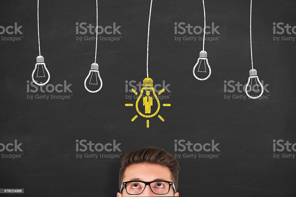Human Resource New Idea on Blackboard Background stock photo