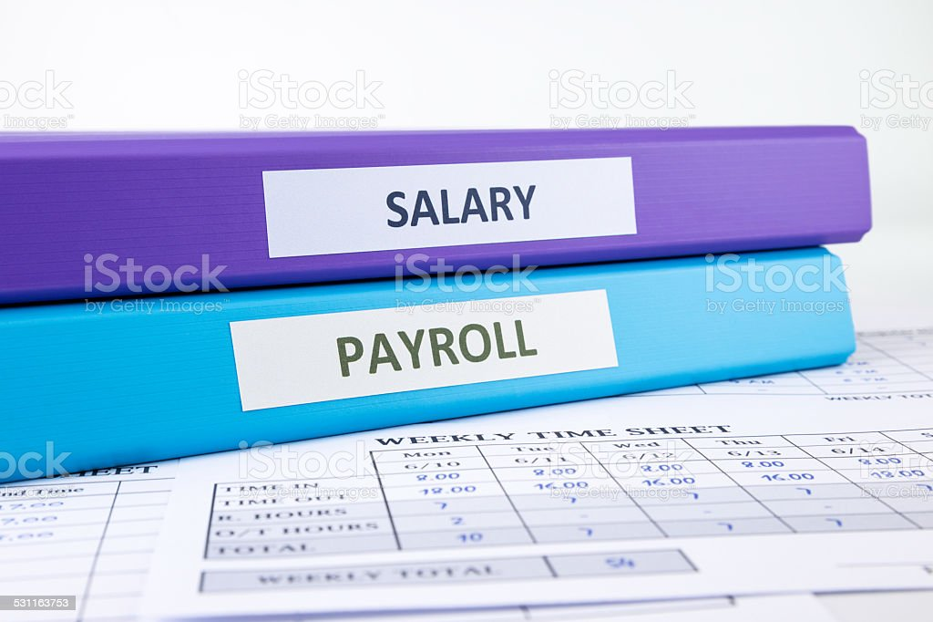 Human Resources and Payroll documents stock photo