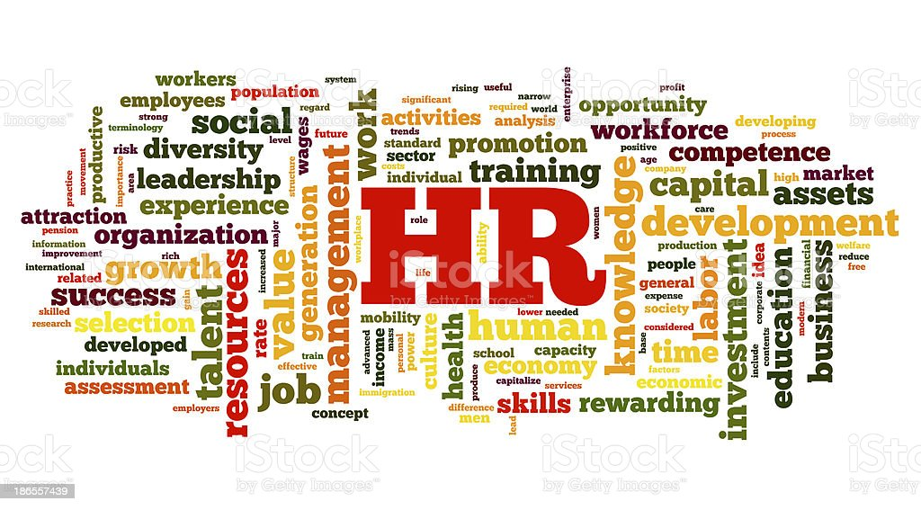 Human resources concept in tag cloud royalty-free stock photo