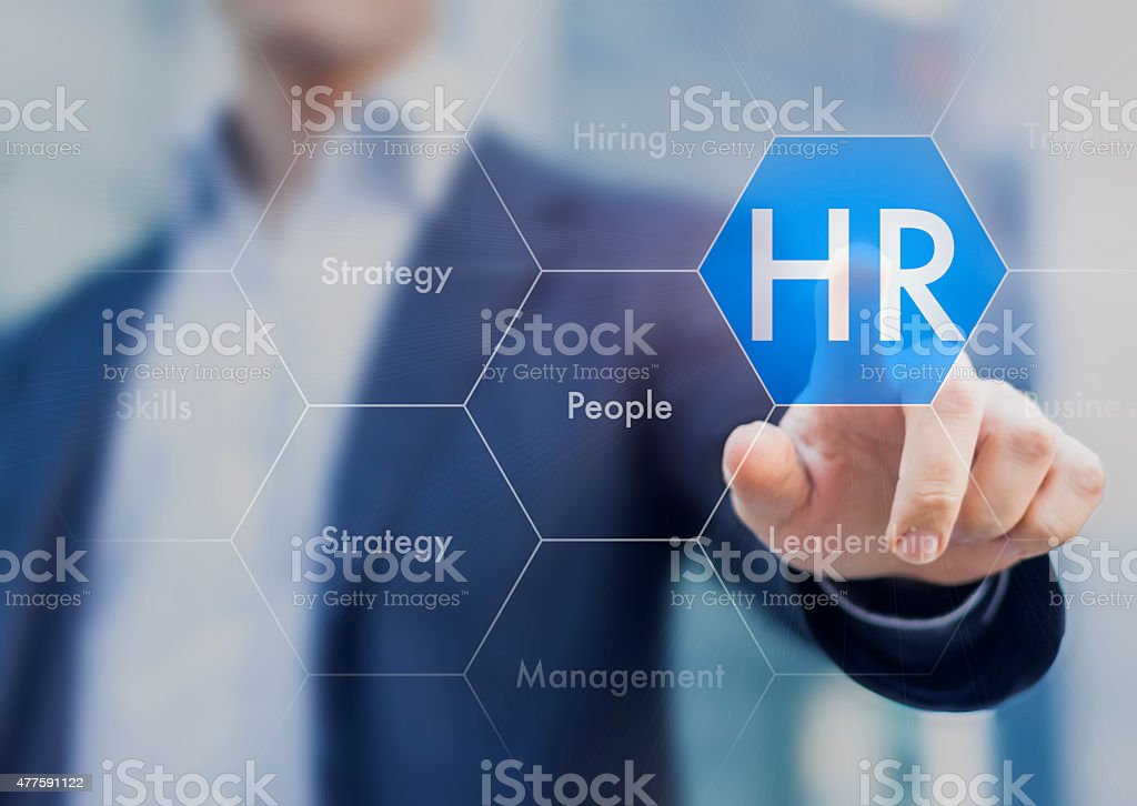 Human resources concept on touch interface stock photo