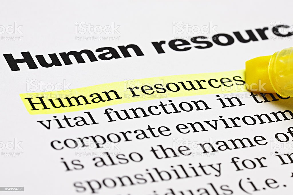 'Human resources' is highlighted under the same heading royalty-free stock photo