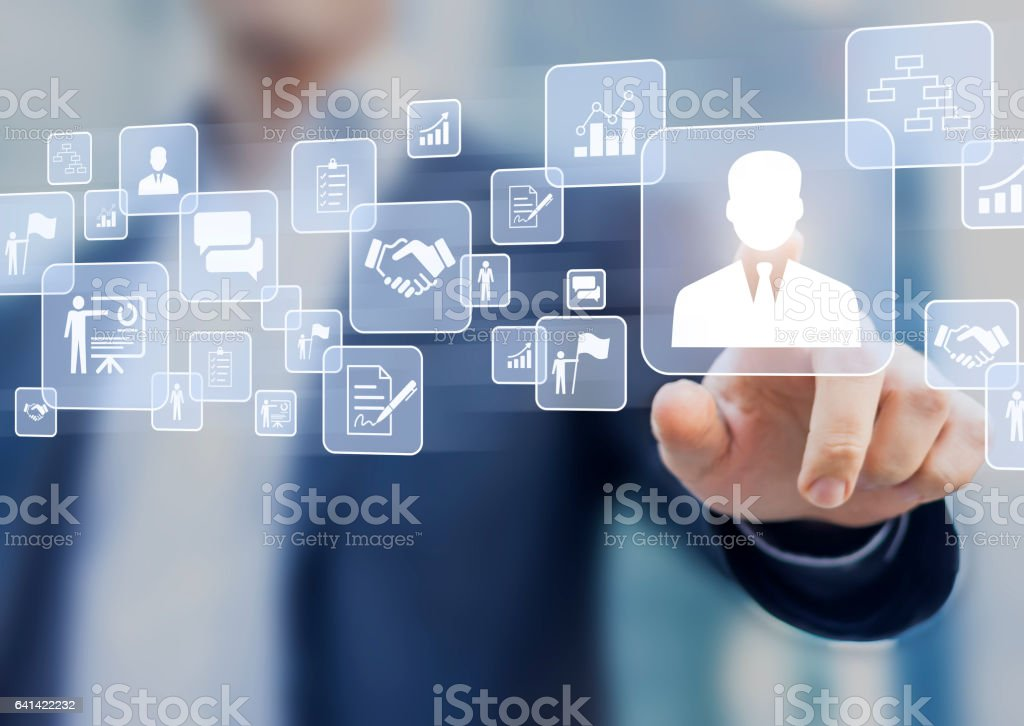 Human resources (HR) management concept on a virtual screen interface stock photo