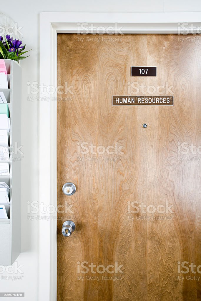 Human resources office door stock photo