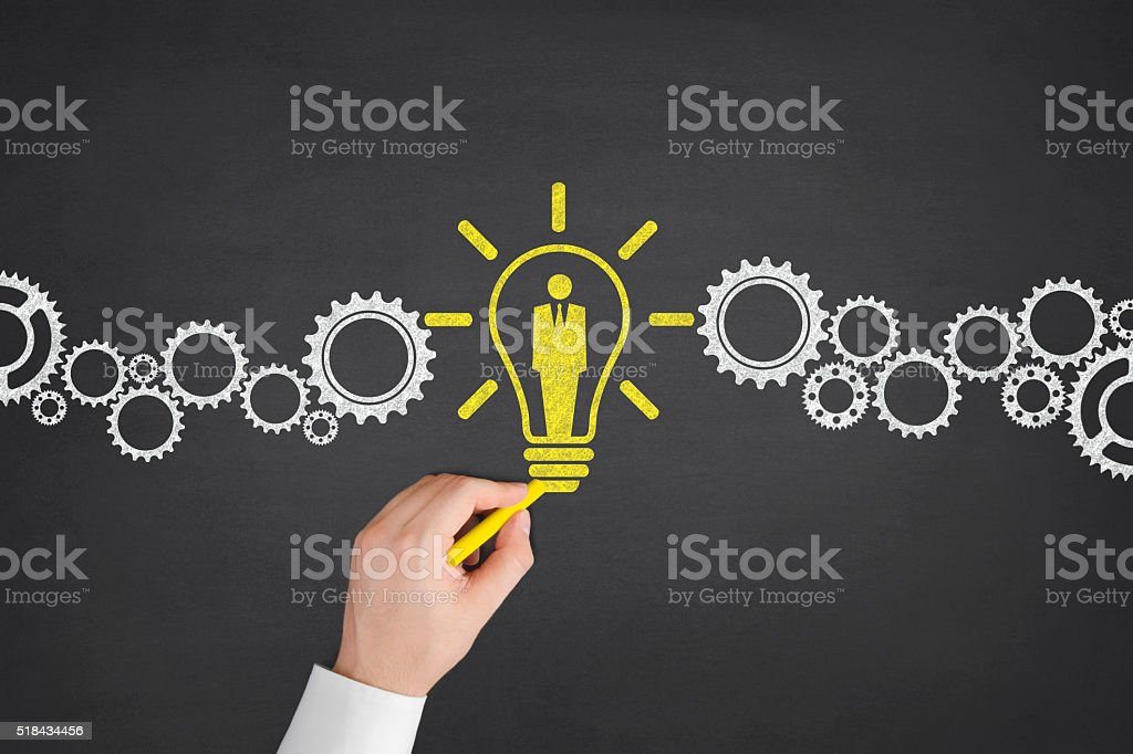 Human Resources with Gears on Blackboard stock photo