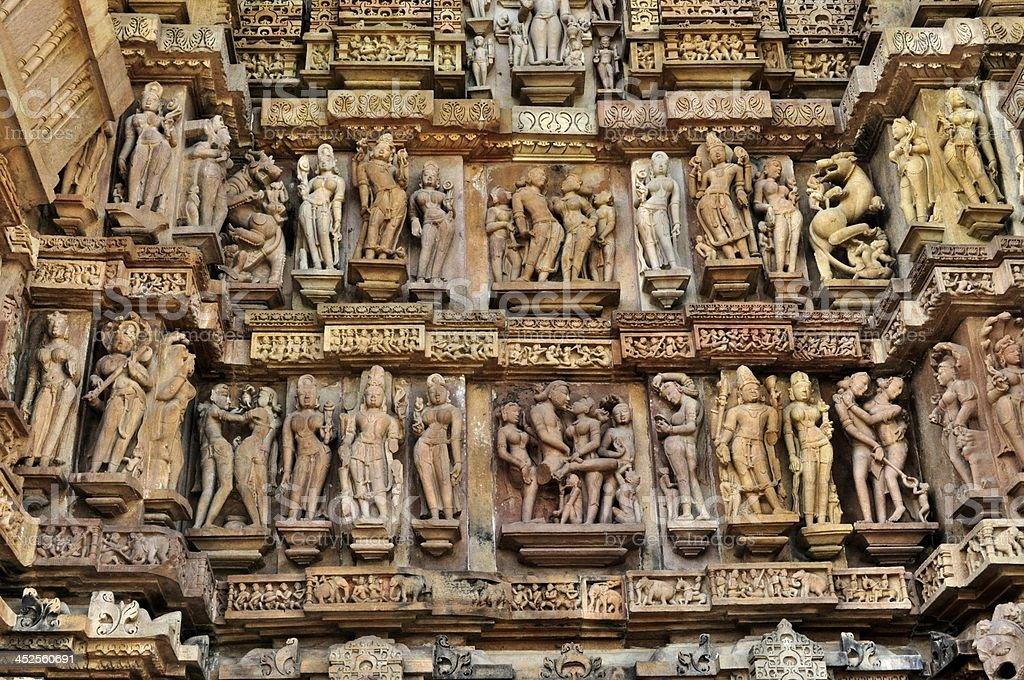 Human Sculptures Khajuraho, India - UNESCO world heritage site. stock photo