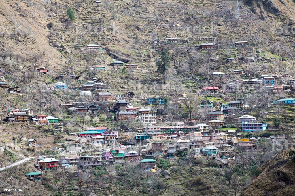 Human settlement on Himalayan mountain stock photo
