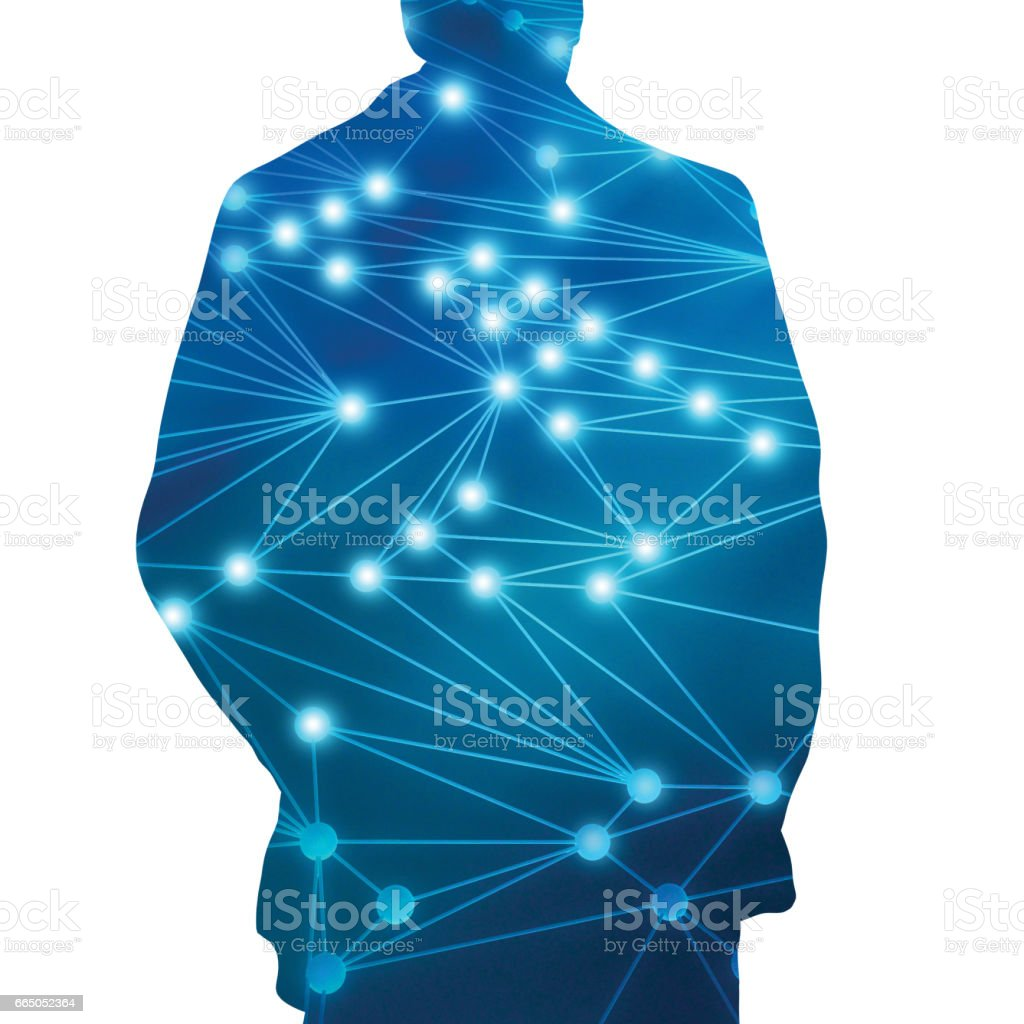 Human shape and connected lines background on blue, social nets and...