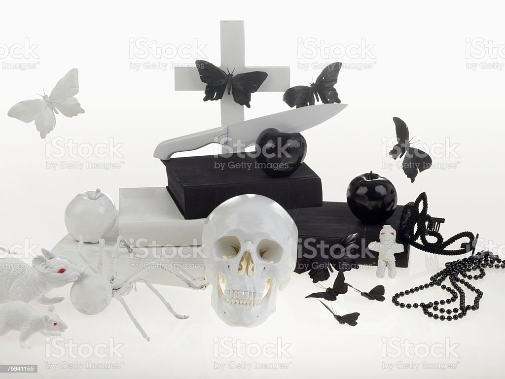 Human skull and other objects stock photo