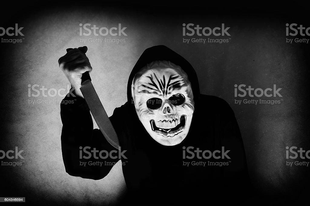 Human skull mask stock photo