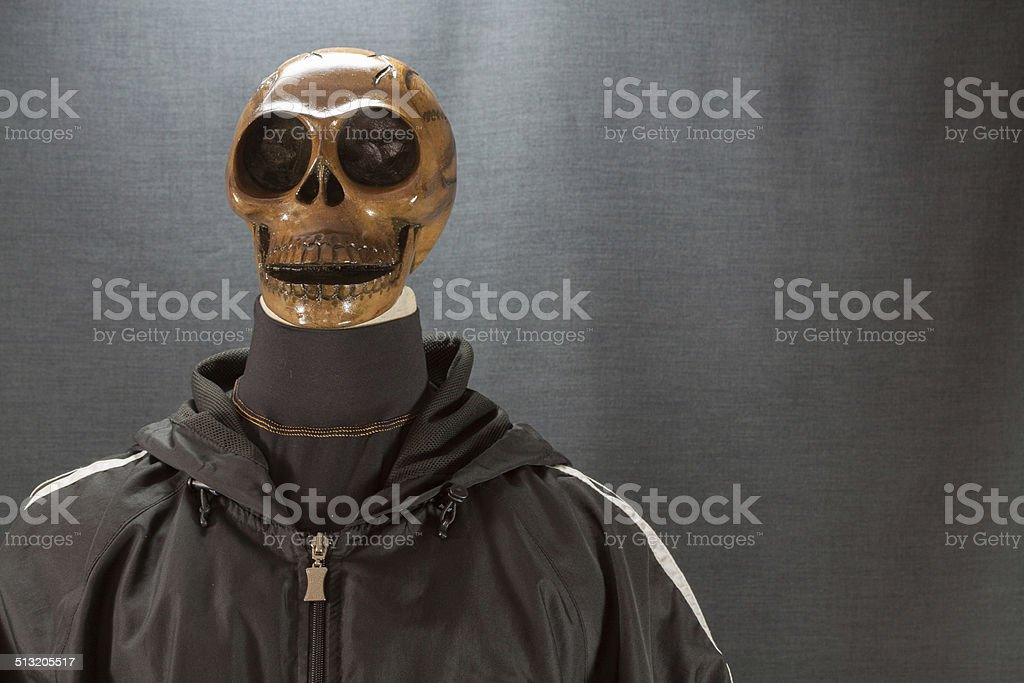 Human skull on a black background. Halloween day stock photo
