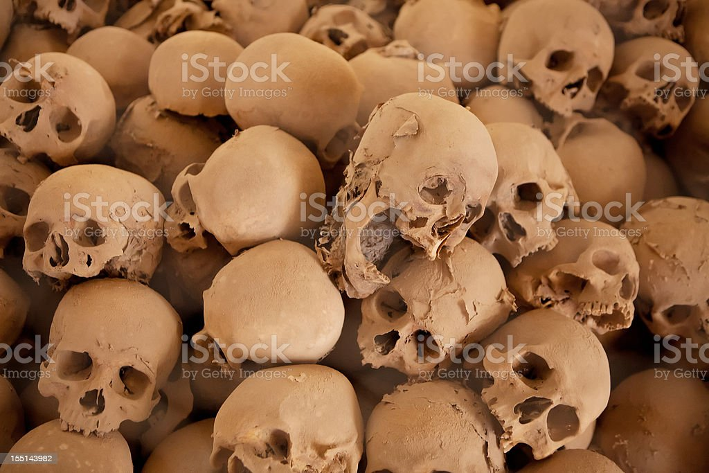 Human skull on the layer of dust stock photo